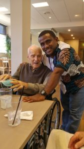 Norm at his 92nd Birthday with Kennedy (a pastoral student)